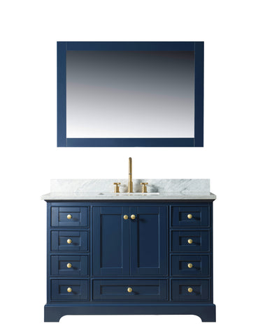 "Jocelyn 48"" Vanity Set with White Italian Carrara Marble Top - Blue"