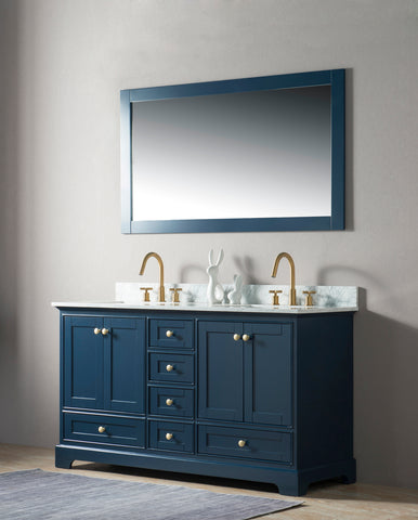 "Jocelyn 60"" Vanity Set with White Italian Carrara Marble Top - Blue"