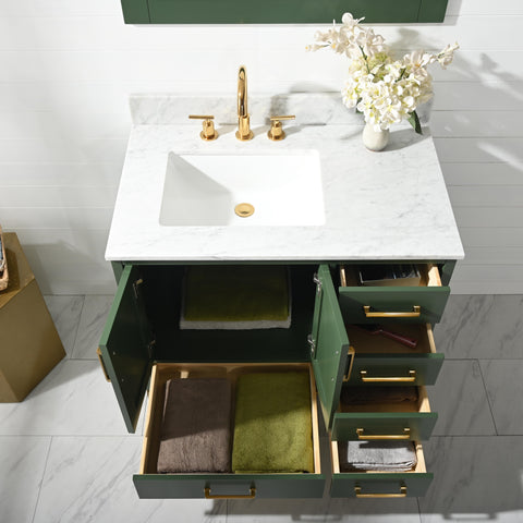 "Joy 36"" Vanity Set with White Italian Carrara Marble Top - Green"