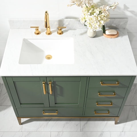 "Joy 42"" Vanity Set with White Italian Carrara Marble Top - Green (SOLD OUT! PRE-ORDER NOW, SHIPS: 4/21/21)"