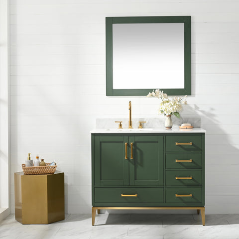 "Joy 42"" Vanity Set with White Italian Carrara Marble Top - Green (SOLD OUT! PRE-ORDER NOW, SHIPS: 5/21/21)"