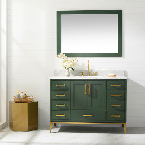 "Joy 48"" Vanity Set with White Italian Carrara Marble Top - Green (SOLD OUT! PRE-ORDER NOW, SHIPS: 5/21/21)"