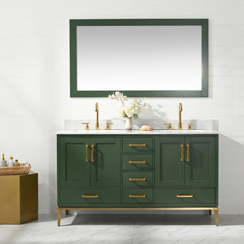 "Joy 60"" Vanity Set with White Italian Carrara Marble Top - Green (SOLD OUT! PRE-ORDER NOW, SHIPS: 5/21/21)"