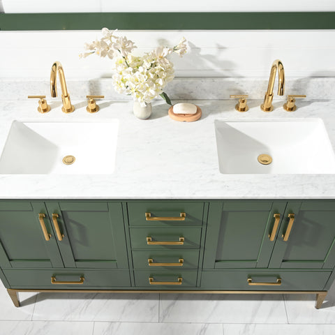 "Joy 60"" Vanity Set with White Italian Carrara Marble Top - Green"