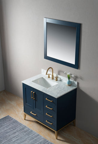 "Joy 36"" Vanity Set with White Italian Carrara Marble Top - Blue **SOLD OUT**"