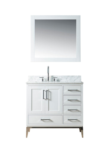 "Joy 36"" Vanity Set with White Italian Carrara Marble Top - White **SOLD OUT**"