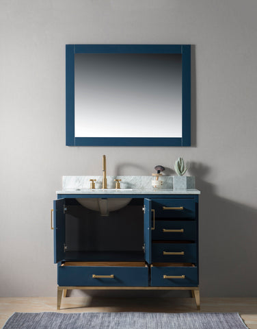 "Joy 42"" Vanity Set with White Italian Carrara Marble Top - Blue"