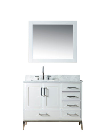 "Joy 42"" Vanity Set with White Italian Carrara Marble Top - White **SOLD OUT**"