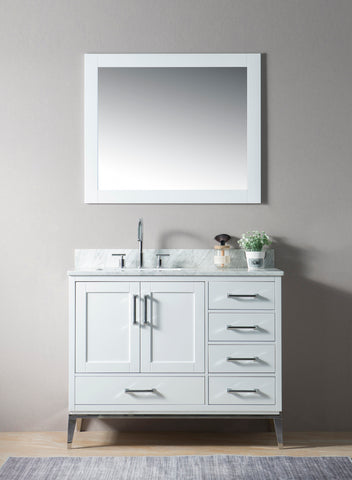 "Joy 42"" Vanity Set with White Italian Carrara Marble Top - White"