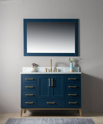 "Joy 48"" Vanity Set with White Italian Carrara Marble Top - Blue"