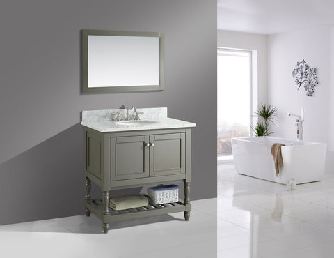 "Silvia 36"" Vanity Set with White Italian Carrara Marble Top - Distressed Gray"