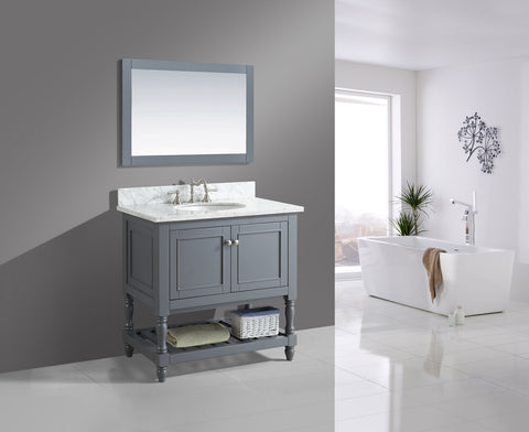 "Silvia 36"" Vanity Set with White Italian Carrara Marble Top - Charcoal"