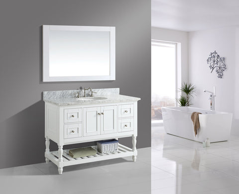 "Silvia 48"" Vanity Set with White Italian Carrara Marble Top - White (SOLD OUT)"