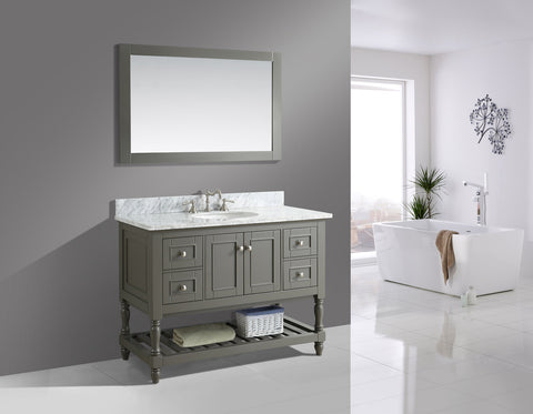 "Silvia 48"" Vanity Set with White Italian Carrara Marble Top - Distressed Gray"
