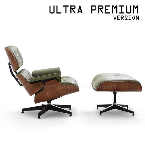 Mid-Century Plywood Lounge Chair and Ottoman - Ultra Premium Version, Olive/Walnut