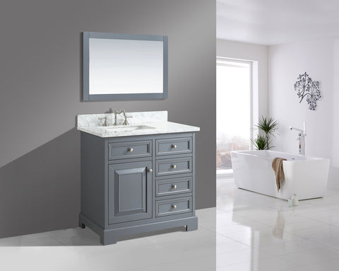 "Rochelle 36"" Vanity Set with White Italian Carrara Marble Top - Charcoal"