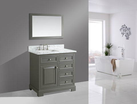 "Rochelle 36"" Vanity Set with White Italian Carrara Marble Top - Distressed Gray"