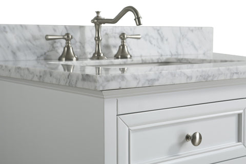 "Rochelle 36"" Vanity Set with White Italian Carrara Marble Top - White"