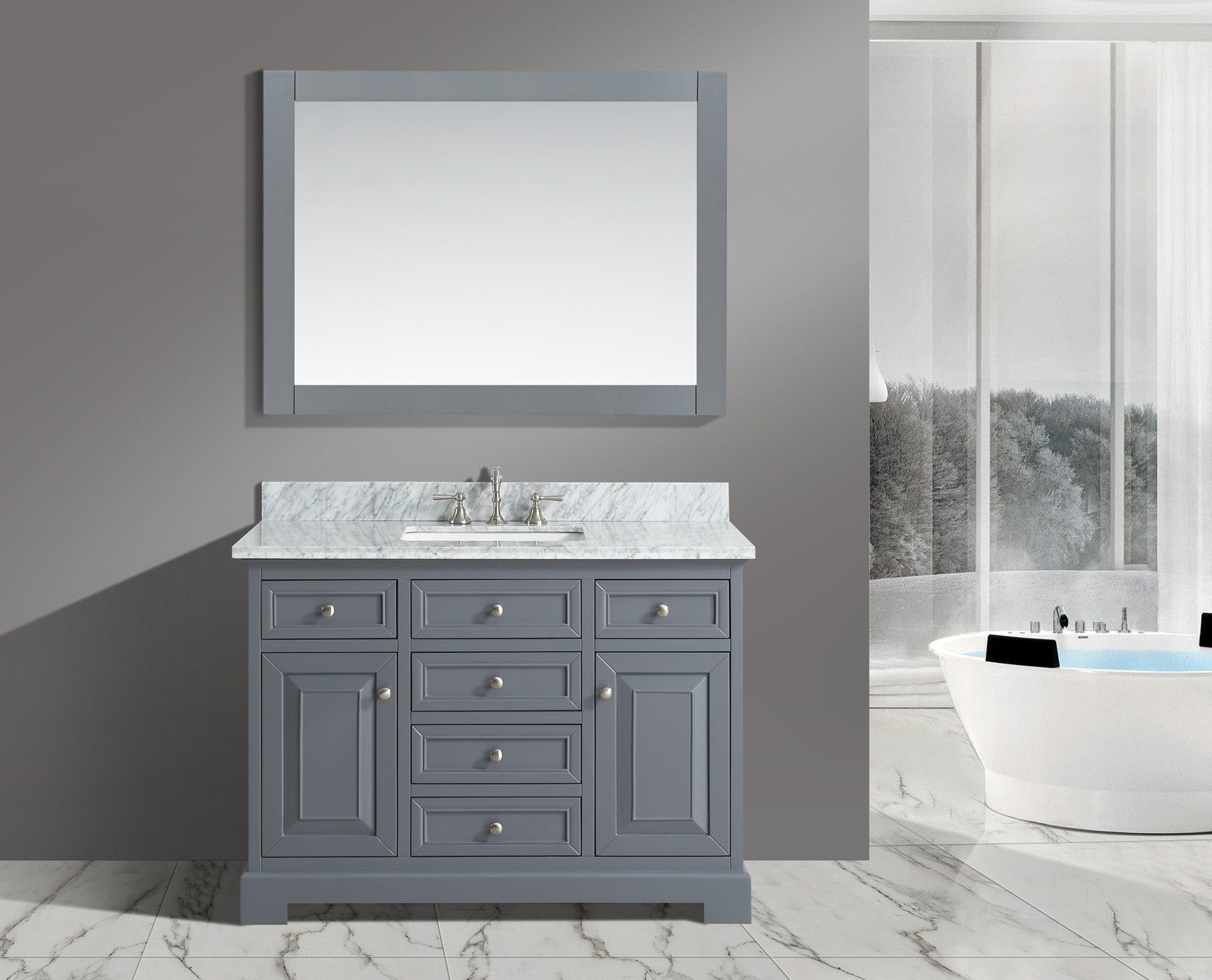 Rochelle 48 Vanity Set With White Italian Carrara Marble Top
