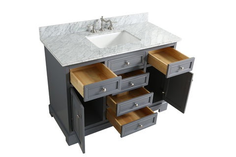 "Rochelle 48"" Vanity Set with White Italian Carrara Marble Top - Charcoal"