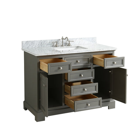 "Rochelle 48"" Vanity Set with White Italian Carrara Marble Top - Distressed Gray"