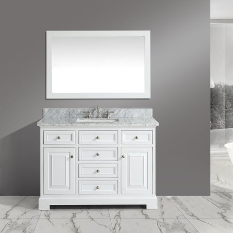 "Rochelle 48"" Vanity Set with White Italian Carrara Marble Top - White **SOLD OUT**"