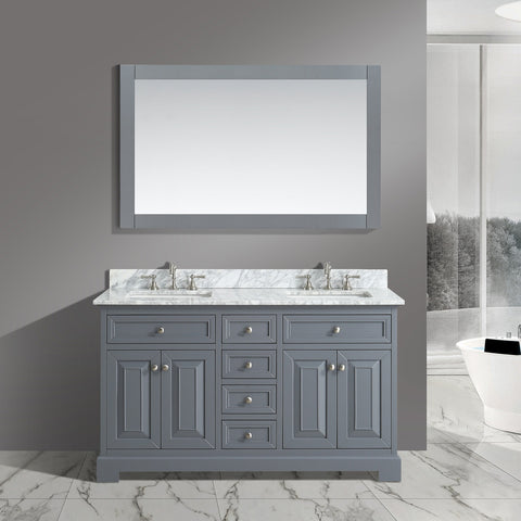 "Rochelle 60"" Vanity Set with White Italian Carrara Marble Top - Charcoal"
