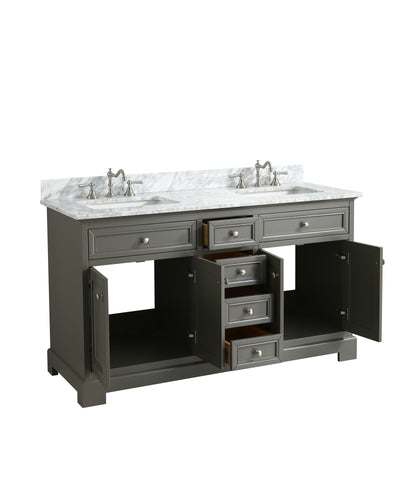 "Rochelle 60"" Vanity Set with White Italian Carrara Marble Top - Distressed Gray"