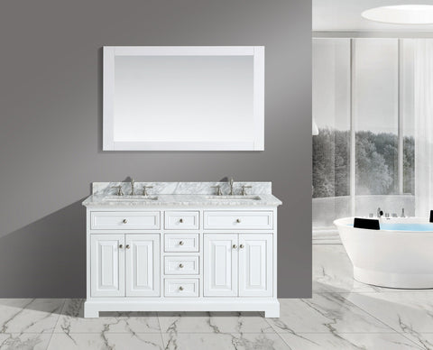 "Rochelle 60"" Vanity Set with White Italian Carrara Marble Top - White"