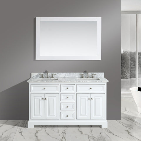 "Rochelle 60"" Vanity Set with White Italian Carrara Marble Top - White (SOLD OUT)"