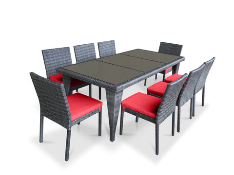 9 Piece Wicker Outdoor Patio Dining Set - Gray Wicker / Coral Red