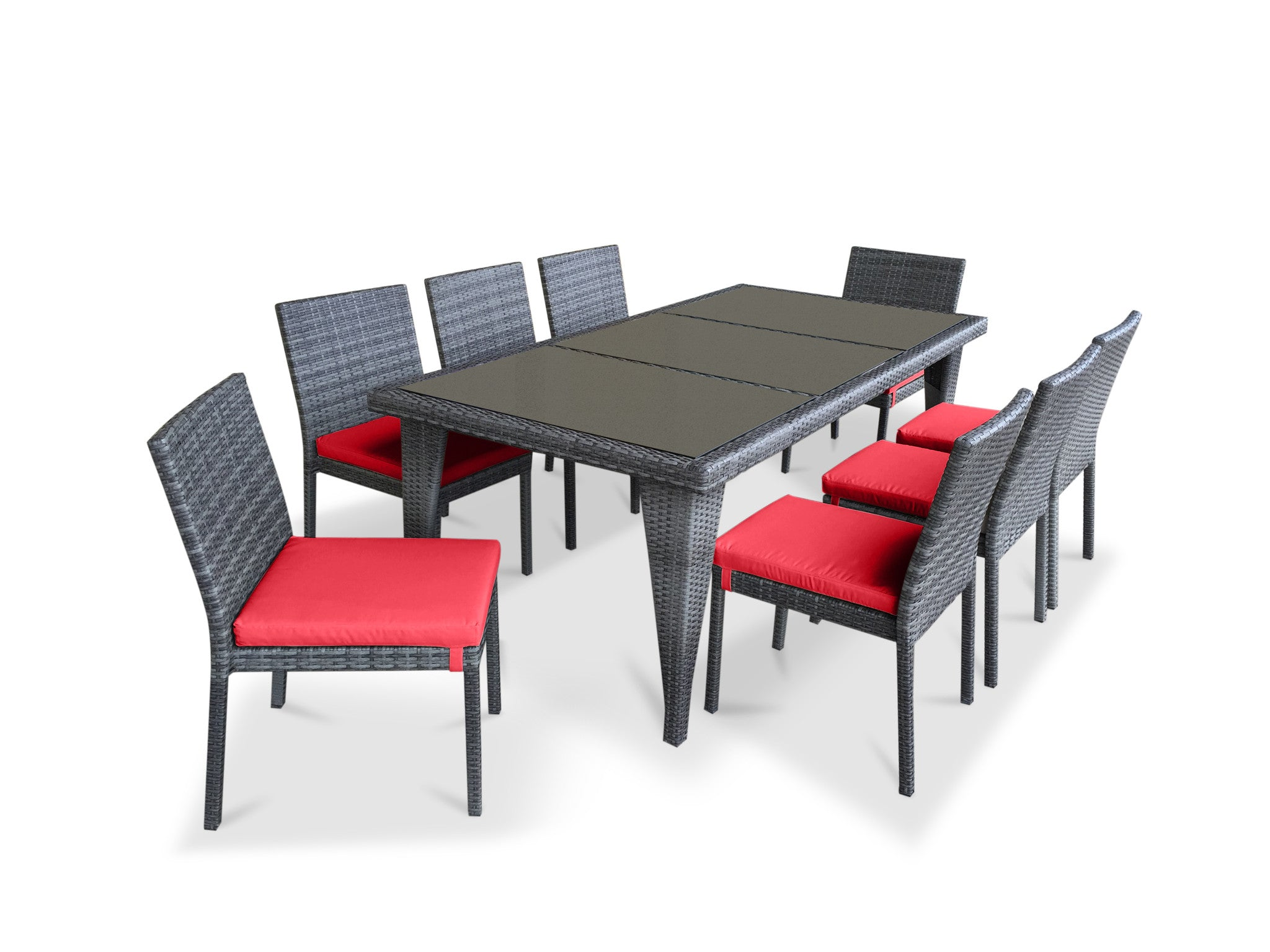 9 Piece Wicker Outdoor Patio Dining Set   Gray Wicker / Coral Red