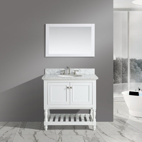 "Silvia 36"" Vanity Set with White Italian Carrara Marble Top - White"