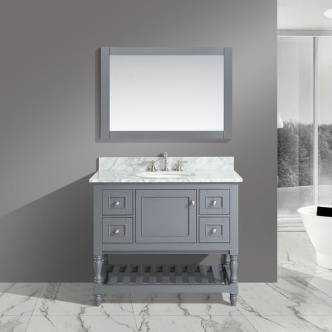 "Silvia 42"" Vanity Set with White Italian Carrara Marble Top - Charcoal (SOLD OUT)"