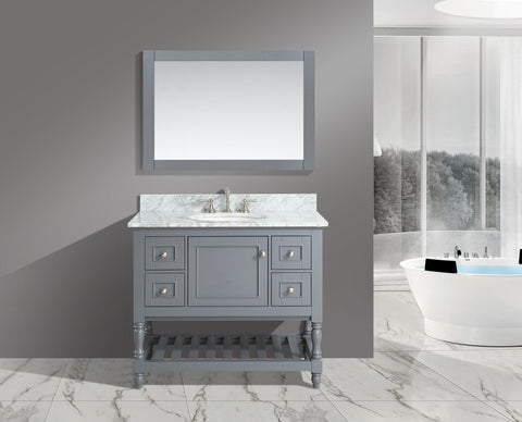 "Silvia 42"" Vanity Set with White Italian Carrara Marble Top - Charcoal"