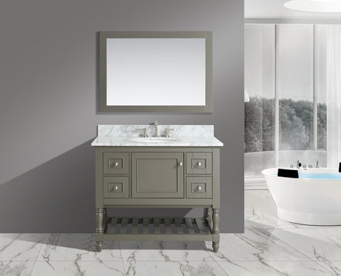 "Silvia 42"" Vanity Set with White Italian Carrara Marble Top - Distressed Gray"