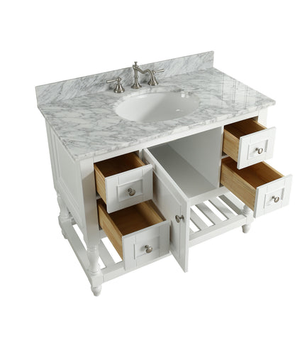 "Silvia 42"" Vanity Set with White Italian Carrara Marble Top - White"