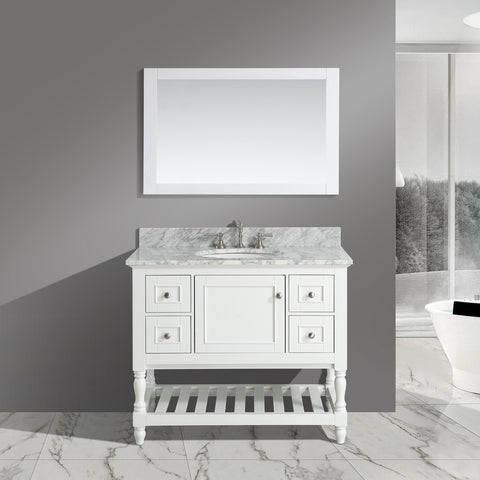 "Silvia 42"" Vanity Set with White Italian Carrara Marble Top - White (SOLD OUT)"