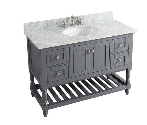 "Silvia 48"" Vanity Set with White Italian Carrara Marble Top - Charcoal"