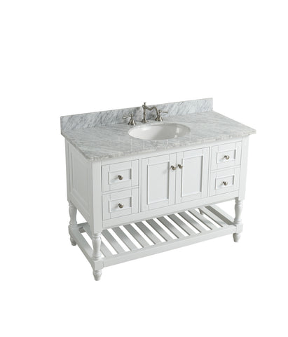 "Silvia 48"" Vanity Set with White Italian Carrara Marble Top - White"
