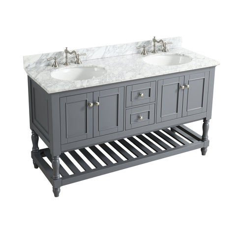 "Silvia 60"" Vanity Set with White Italian Carrara Marble Top - Charcoal"