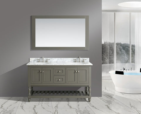 "Silvia 60"" Vanity Set with White Italian Carrara Marble Top - Distressed Gray"