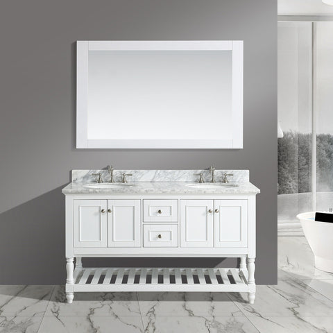 "Silvia 60"" Vanity Set with White Italian Carrara Marble Top - White (SOLD OUT)"