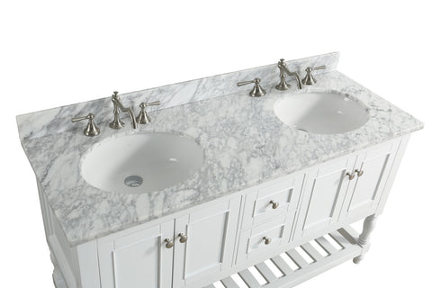 "Silvia 60"" Vanity Set with White Italian Carrara Marble Top - White"