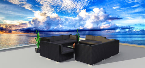 Black Series 11a - Ultra Modern Wicker Patio Set