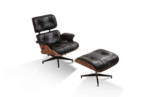 Mid-Century Plywood Lounge Chair and Ottoman - Ultra Premium, Black/Palisander, TALL VERSION