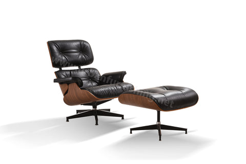 Mid-Century Plywood Lounge Chair and Ottoman - Ultra Premium, Black/Walnut, TALL Version (SOLD OUT - ETA 12/17/19)