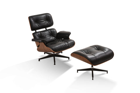 Mid-Century Plywood Lounge Chair and Ottoman - Ultra Premium, Black/Walnut, TALL Version (Back-in-stock: 8/31/20)