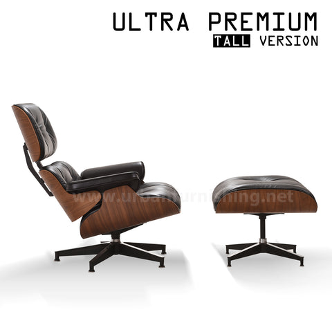 Mid-Century Plywood Lounge Chair and Ottoman - Ultra Premium, Black/Walnut, TALL VERSION   **PRE-ORDER NOW, ETA: 5-21-19**