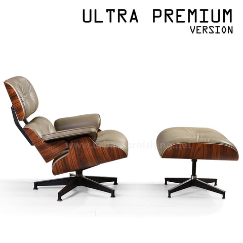 Mid-Century Plywood Lounge Chair and Ottoman - Ultra Premium Version, Taupe/Palisander
